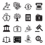 Ícones do negócio e da finança ajustados Ilustração Stock