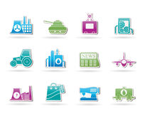 Ícones do negócio e da indústria Imagens de Stock