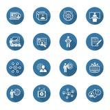 Ícones do negócio e das finanças ajustados Projeto liso ilustração stock