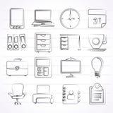 Ícones do negócio e do escritório Fotos de Stock