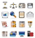 Ícones do negócio e do escritório Fotografia de Stock