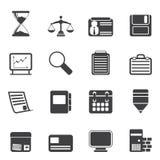 Ícones do negócio e do escritório da silhueta Fotografia de Stock Royalty Free