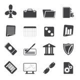 Ícones do negócio e do escritório da silhueta Foto de Stock Royalty Free