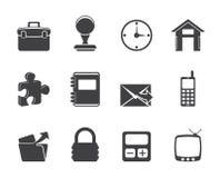 Ícones do negócio e do escritório da silhueta Foto de Stock