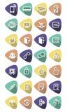 Ícones do negócio em triângulos coloridos Fotos de Stock Royalty Free