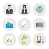 Ícones do negócio no projeto liso Fotos de Stock Royalty Free