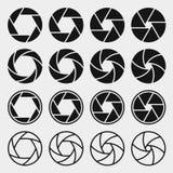 Ícones do obturador da câmera ilustração stock
