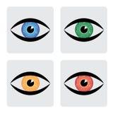 Ícones do olho humano de verde vermelho, amarelo, azul com circu ilustração royalty free