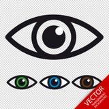 Ícones do olho - vetor colorido ajustado - isolados no fundo transparente Fotos de Stock