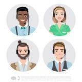 Ícones do operador de centro de atendimento Ilustração dos desenhos animados do vetor Foto de Stock