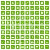 100 ícones do papel de trabalho ajustaram o verde do grunge Imagens de Stock