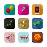 Ícones do partido ajustados Imagem de Stock