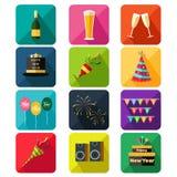 Ícones do partido do ano novo Imagens de Stock Royalty Free