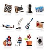 Ícones do passatempo, do lazer e do feriado Imagem de Stock