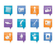 Ícones do passatempo, do lazer e do feriado Imagens de Stock Royalty Free