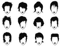 Ícones do penteado da mulher ajustados Imagem de Stock
