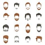 Ícones do penteado dos homens ajustados Fotografia de Stock Royalty Free