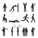 Ícones do pictograma da postura do homem ajustados Ação do corpo humano Fotografia de Stock
