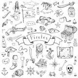 Ícones do pirata ajustados ilustração stock