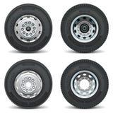 Ícones do pneu do caminhão do vetor Fotos de Stock