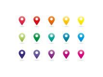 Ícones do ponteiro do mapa do espectro do arco-íris Imagem de Stock
