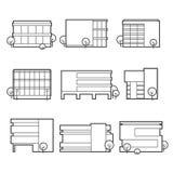 Ícones do prédio de escritórios Imagem de Stock