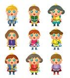 Ícones do príncipe dos desenhos animados ajustados Imagem de Stock Royalty Free