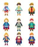 Ícones do príncipe dos desenhos animados ajustados Imagem de Stock