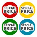 Ícones do preço especial ajustados ilustração stock