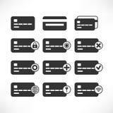 Ícones do preto do cartão de crédito ilustração do vetor