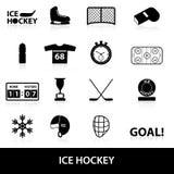 Ícones do preto do esporte do hóquei em gelo ajustados Imagem de Stock