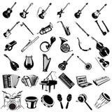 Ícones do preto do instrumento de música Imagem de Stock