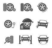 Ícones do preto do serviço da roda do pneu do vetor ajustados Foto de Stock Royalty Free