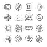 Ícones do processador da microplaqueta de Digitas ajustados ilustração royalty free