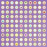 100 ícones do produto de beleza ajustados no estilo dos desenhos animados Fotos de Stock Royalty Free