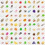 100 ícones do produto natural ajustaram-se, o estilo 3d isométrico Foto de Stock Royalty Free