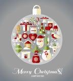Ícones do projeto do Natal ajustados Cartão do ano novo feliz Fotografia de Stock