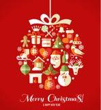 Ícones do projeto do Natal ajustados Cartão do ano novo feliz Fotos de Stock