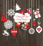 Ícones do projeto do Natal ajustados Cartão do ano novo feliz Imagens de Stock