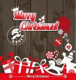 Ícones do projeto do Natal ajustados Cartão do ano novo feliz Fotos de Stock Royalty Free