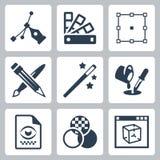 Ícones do projeto gráfico de vetor ajustados Imagem de Stock