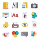 Ícones do projeto gráfico lisos Fotografia de Stock Royalty Free