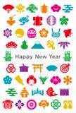 Ícones do projeto do japonês Convite do ano novo Imagem de Stock