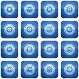 Ícones do quadrado do cobalto 2D ajustados Imagens de Stock Royalty Free