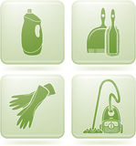 Ícones do quadrado do Olivine 2D ajustados: Limpeza Foto de Stock Royalty Free