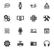 Ícones do reparo da eletrônica ajustados Imagens de Stock