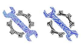Ícones do reparo do mosaico de ferramentas do reparo ilustração stock