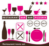 Ícones do restaurante ajustados Imagens de Stock Royalty Free