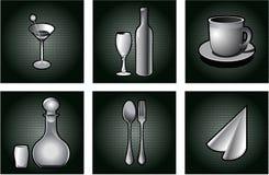Ícones do restaurante ajustados. Fotos de Stock Royalty Free