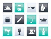 Ícones do restaurante, do café, do alimento e da bebida sobre o fundo da cor fotos de stock royalty free